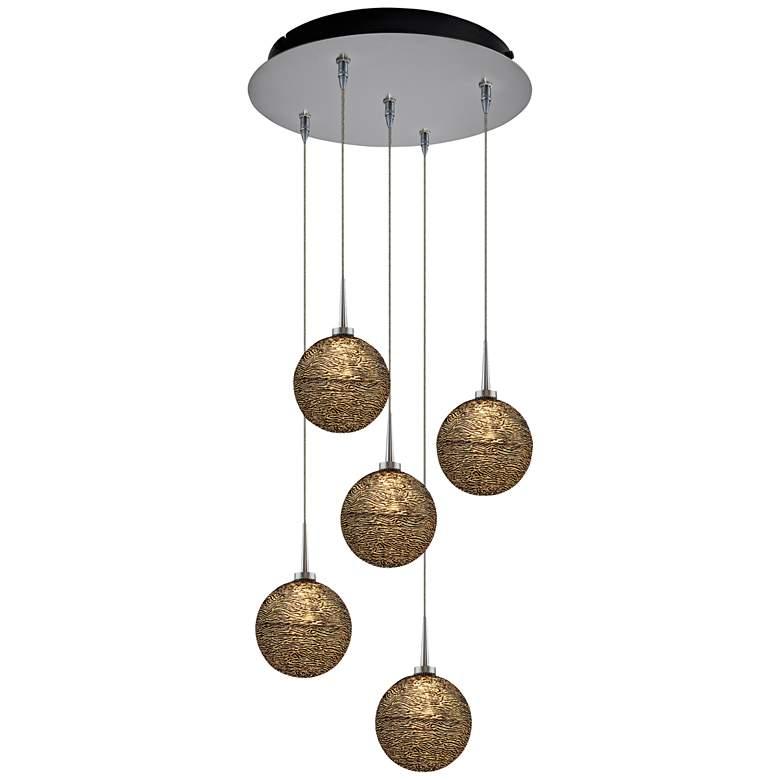 "Dazzle 4 3/4"" Wide Black Glass LED Multi Light Pendant"