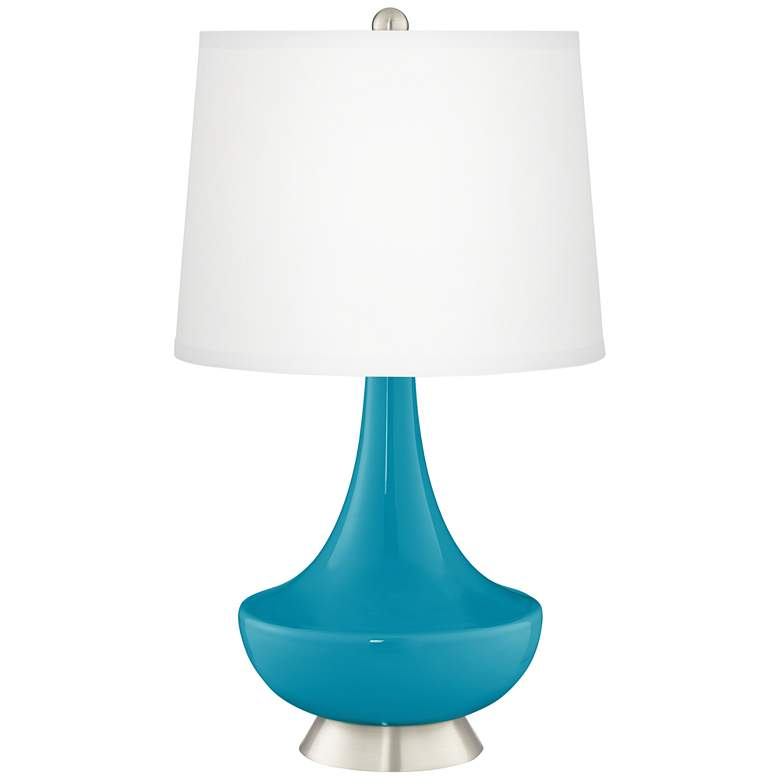 "Gillan Caribbean Blue Sea 28"" High Glass Table Lamp"