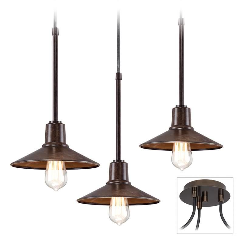 Edison Industrial Bronze 3-Light Swag Pendant