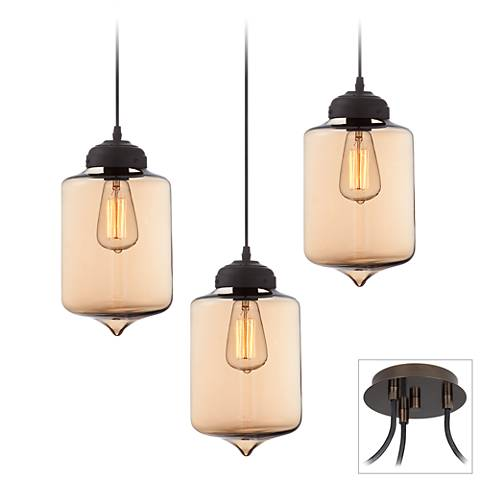 Possini Euro Calico Bronze 3-Light Swag Pendant
