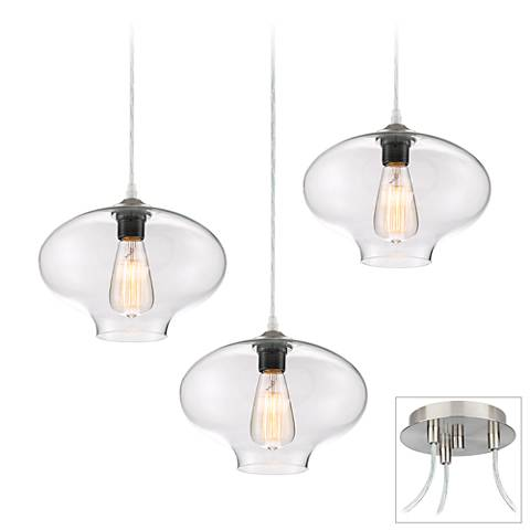 Possini Euro Engels Brushed Nickel 3-Light Swag Pendant