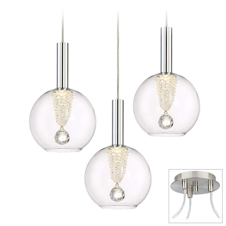 Possini Euro Ritzville LED Brushed Nickel 3-Light Swag Pendant