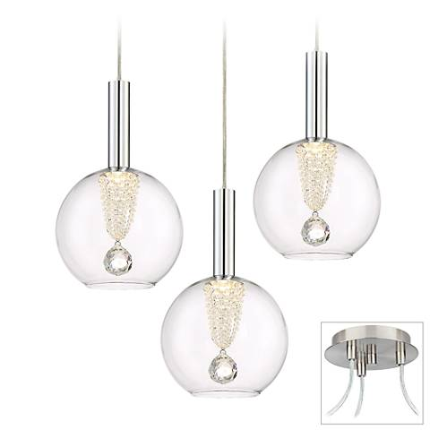 Possini Euro Ritzville LED Brushed Nickel 3-Light Swag Pendant