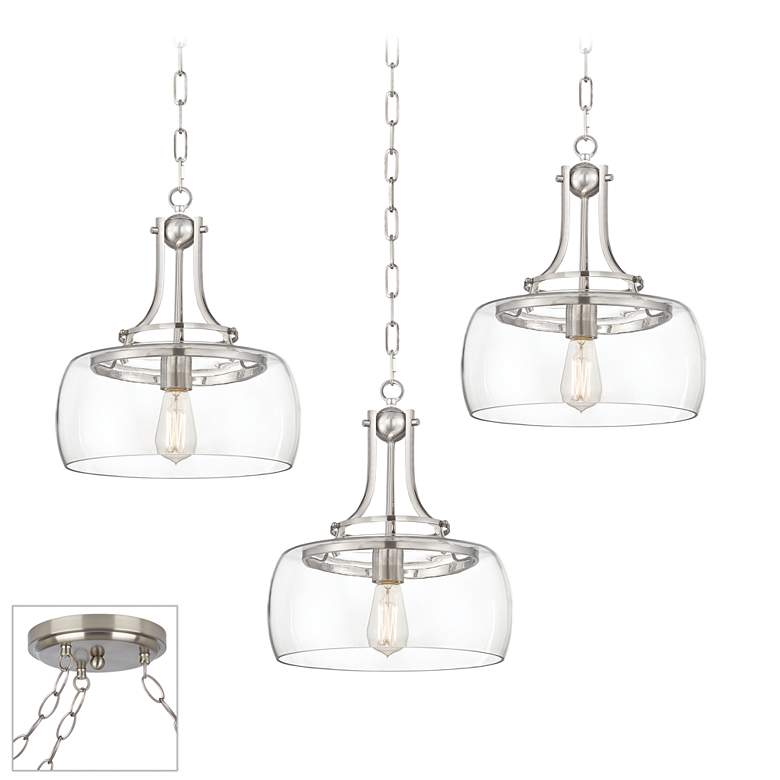 Charleston Brushed Nickel and Glass 3-Light Swag Chandelier