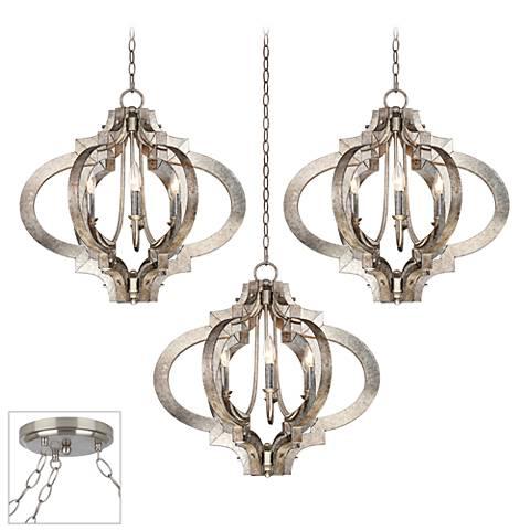 Possini Euro Ornament Brushed Steel 3-Light Swag Chandelier