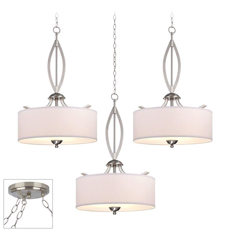 Possini Euro Azle Brushed Nickel 3-Light Swag Chandelier