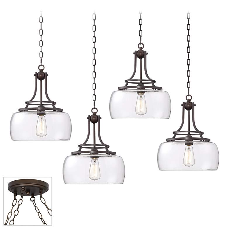 Charleston Bronze and Glass 4-Light LED Swag Chandelier
