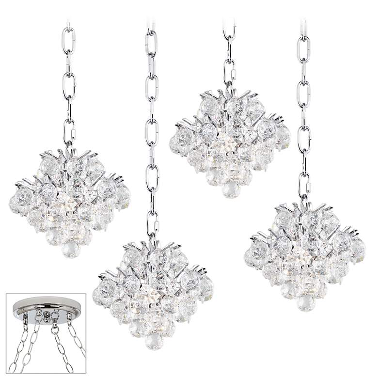 "Essa 8"" Wide Chrome 4-Light Swag Chandelier"