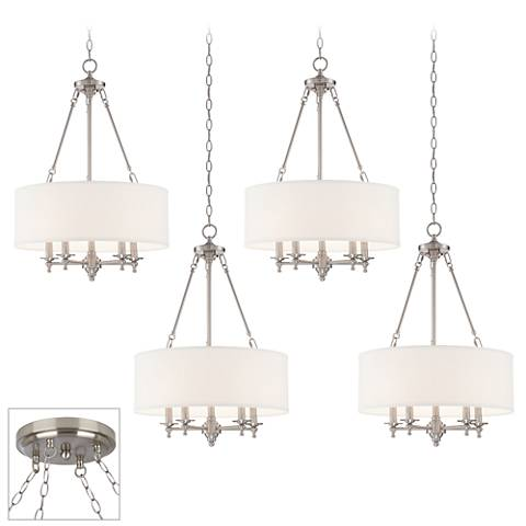 Possini Euro Kinney Brushed Steel 4-Light Swag Chandelier