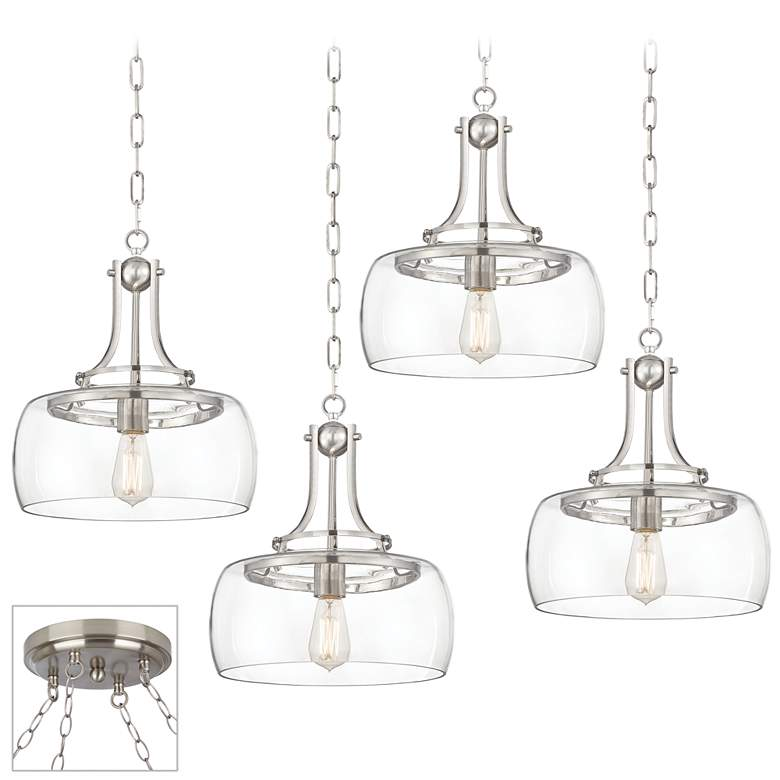 Charleston Brushed Nickel and Glass 4-Light Swag Chandelier