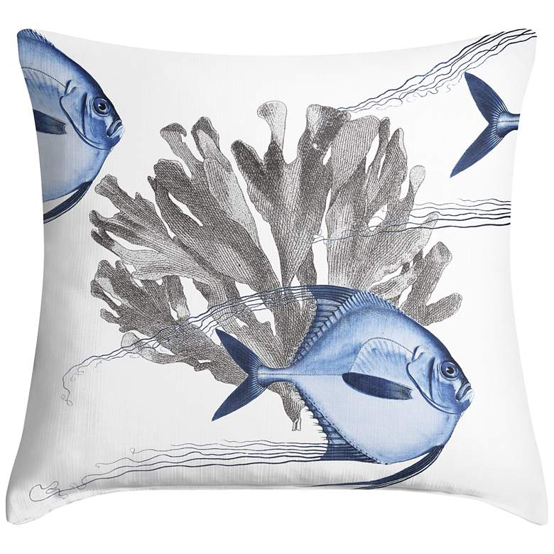 "Blue Angelfish 18"" Square Throw Pillow"