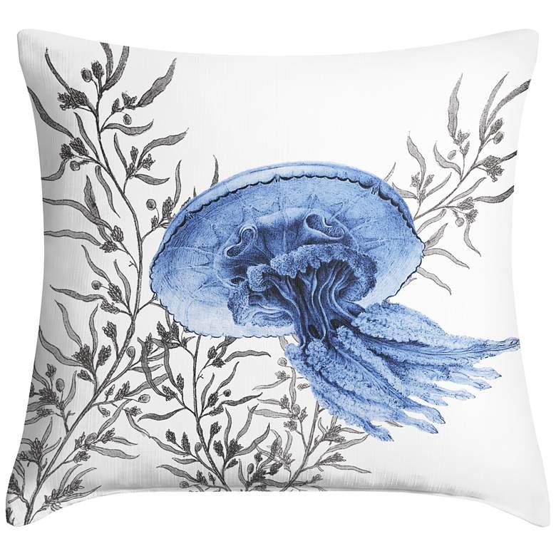 "Blue Jellyfish 18"" Square Throw Pillow"