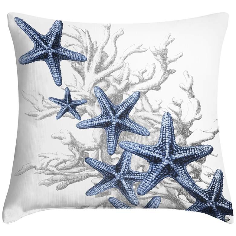 "Blue Starfish 18"" Square Throw Pillow"