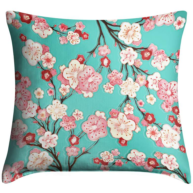 "Cherry Blossoms 18"" Square Throw Pillow"