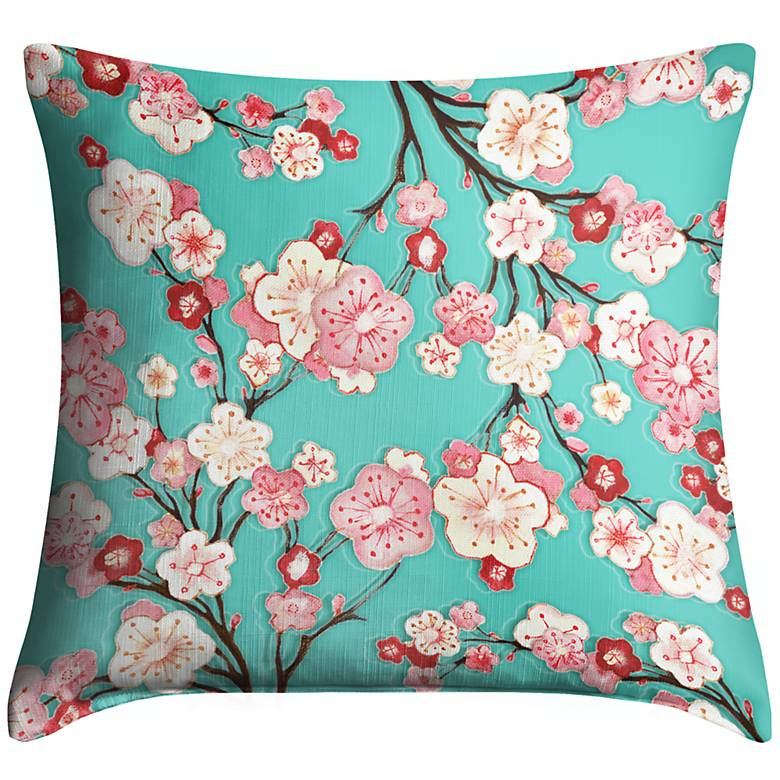 """Cherry Blossoms 18"""" Square Throw Pillow"""