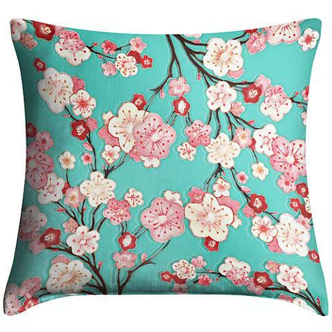 Cherry Blossoms 18 Square Throw Pillow