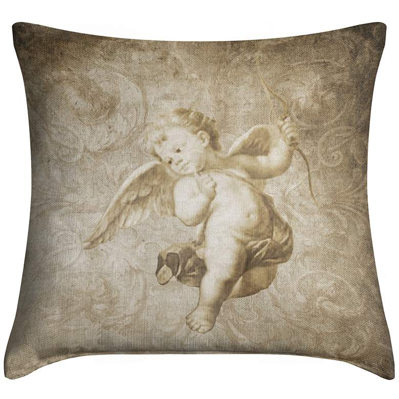 "Cupid With Bow 18"" Square Throw Pillow"