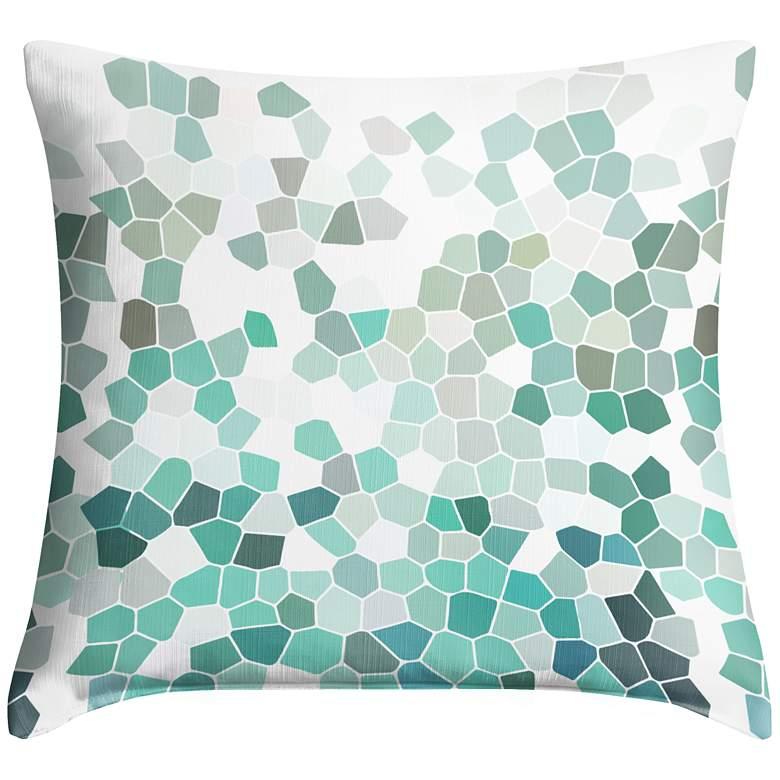 """Aqua Mosaic 18"""" Square Throw Pillow"""