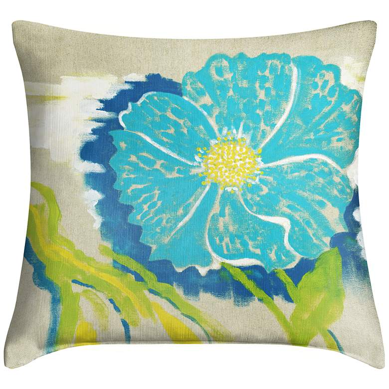 """Abstract Blue I 18"""" Square Throw Pillow"""