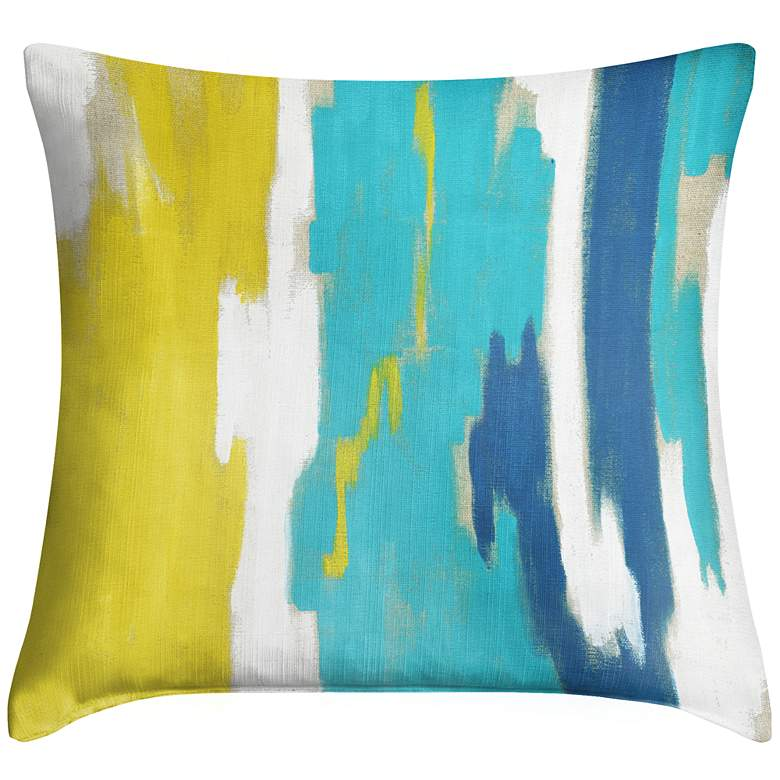 """Abstract Blue II 18"""" Square Throw Pillow"""