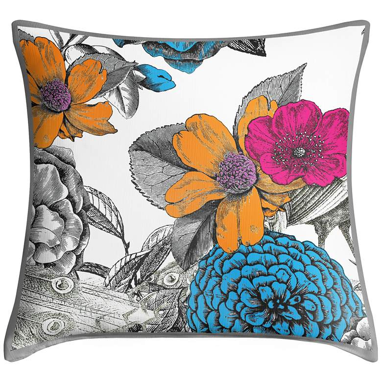 """Peacocks in the Garden I 18"""" Square Throw"""