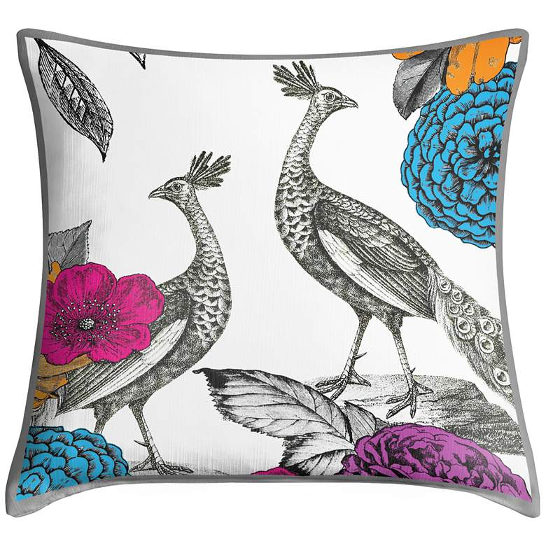"Peacocks in the Garden II 18"" Square Throw Pillow"