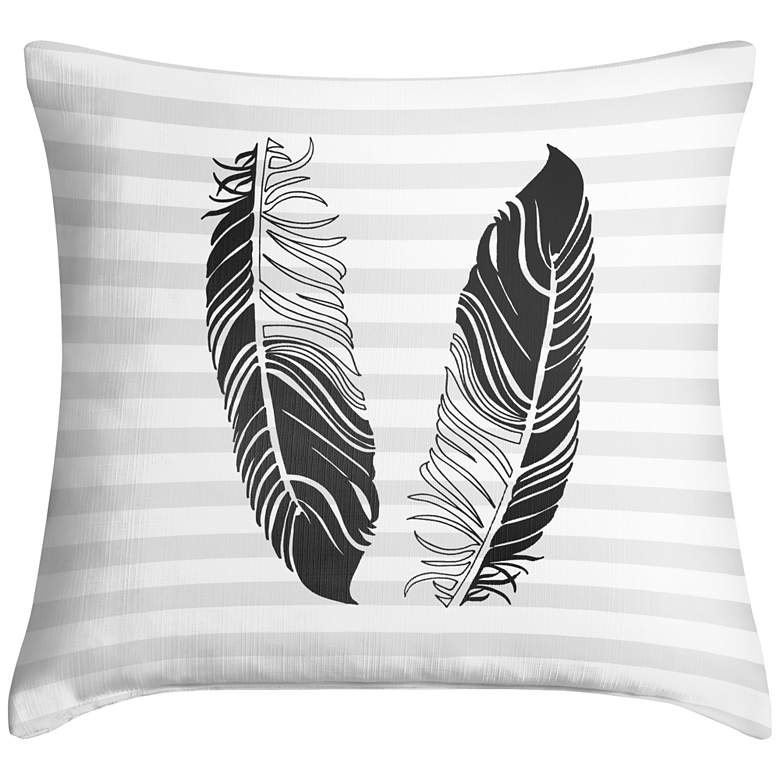 """Light as a Feather Black 18"""" Square Throw Pillow"""
