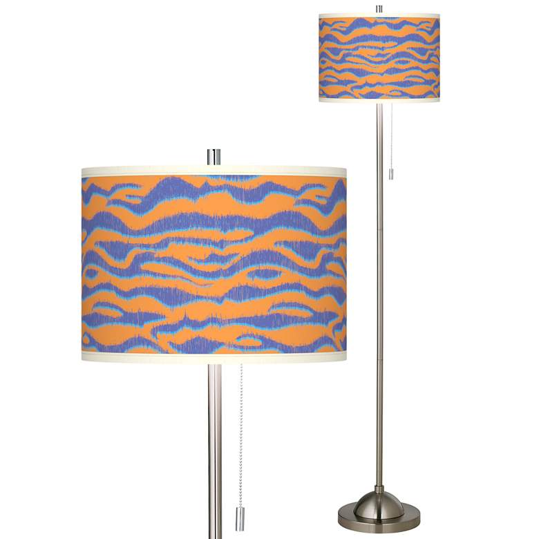 Sunset Stripes Brushed Nickel Pull Chain Floor Lamp