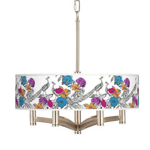 Peacocks in the Garden Ava 6-Light Nickel Pendant Chandelier