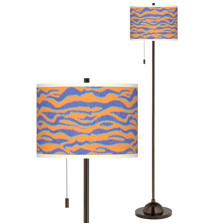 Sunset Stripes Giclee Glow Bronze Club Floor Lamp