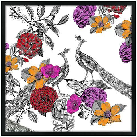 "Peacocks in the Garden 26"" Square Black Giclee Wall Art"
