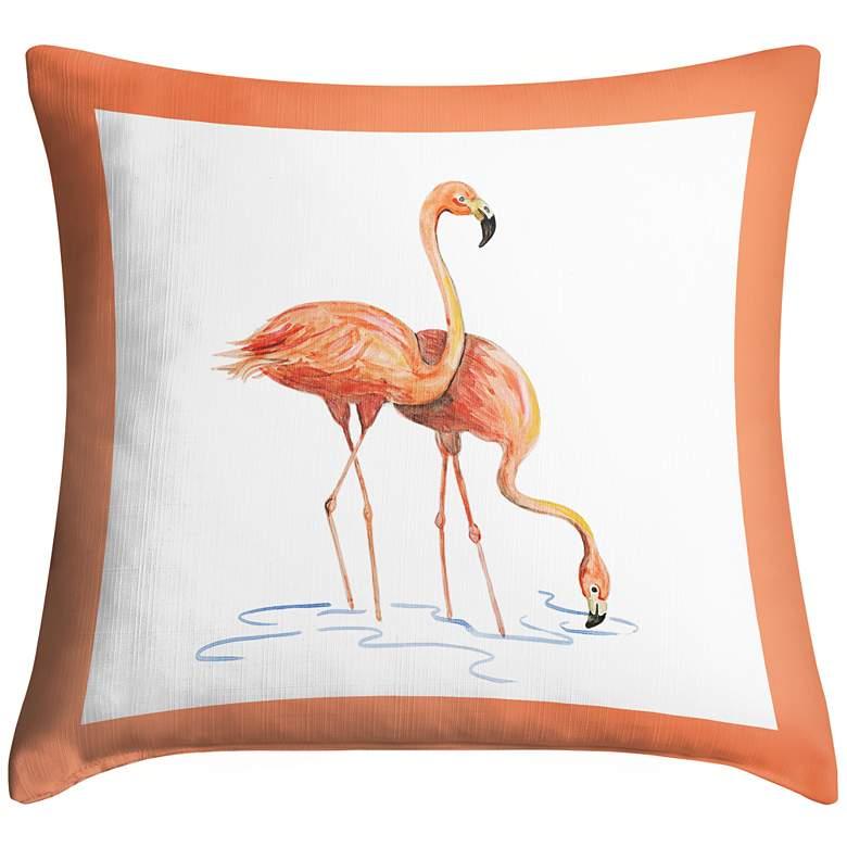 "Flock of Flamingos II 18"" Square Throw Pillow"
