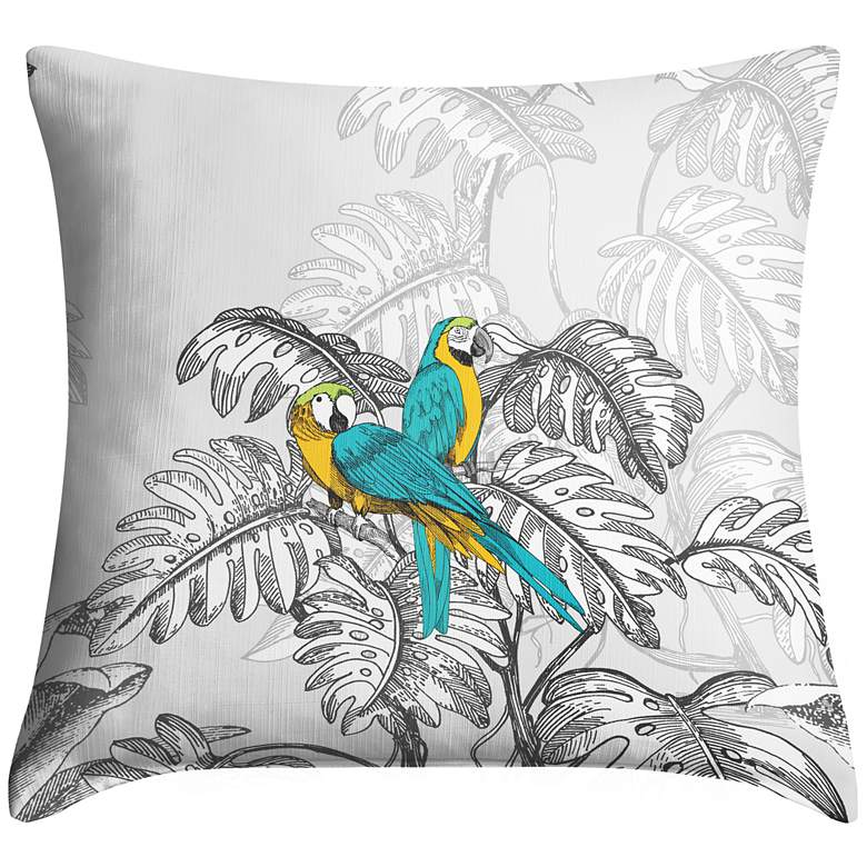 """Macaw Jungle II 18"""" Square Throw Pillow"""