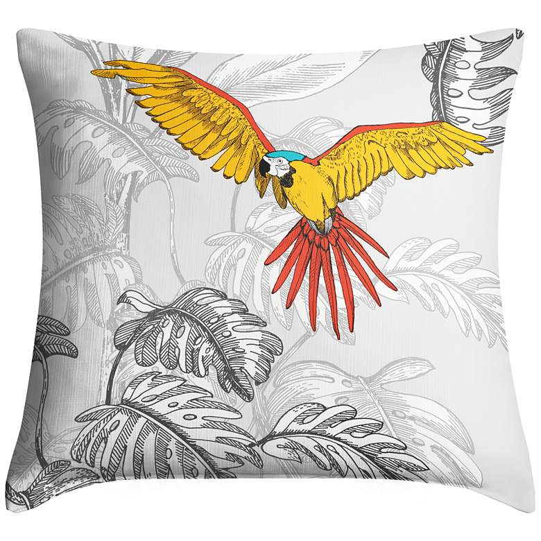 """Macaw Jungle III 18"""" Square Throw Pillow"""