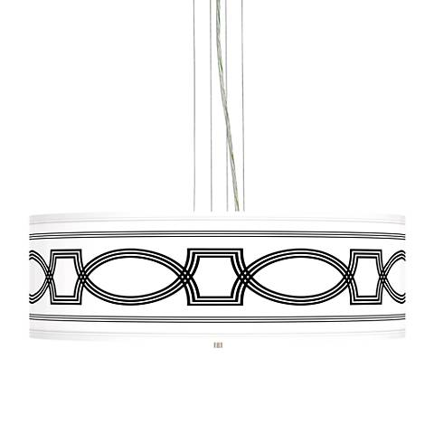 """Concave Giclee 24"""" Wide 4-Light Pendant Chandelier"""