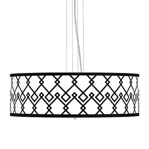 "Diamond Chain Giclee 24"" Wide 4-Light Pendant Chandelier"