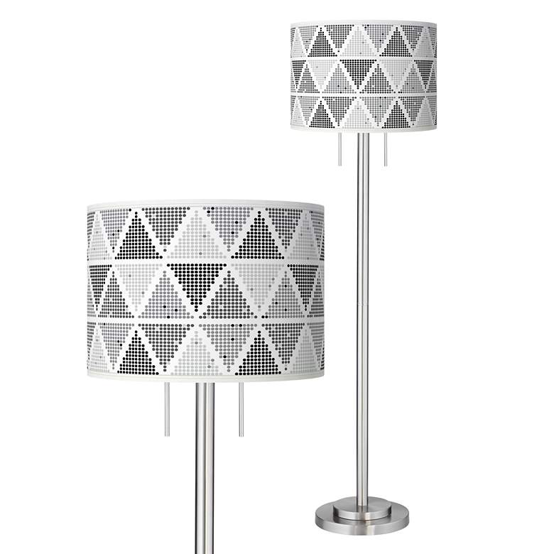 Pointillism Giclee Brushed Nickel Garth Floor Lamp