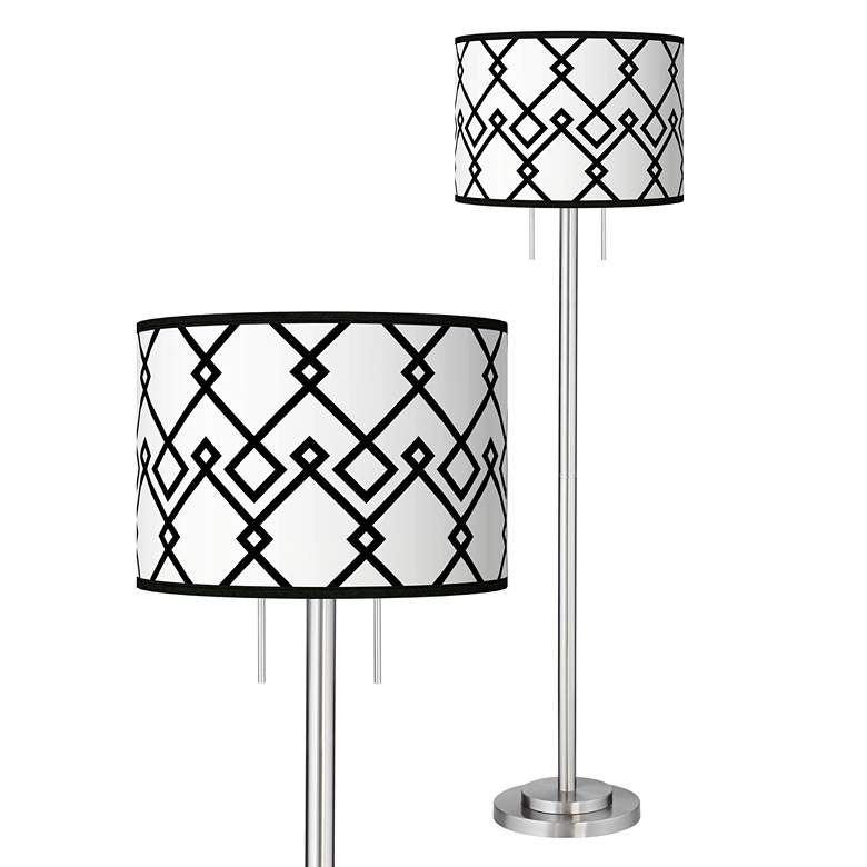 Diamond Chain Giclee Brushed Nickel Garth Floor Lamp