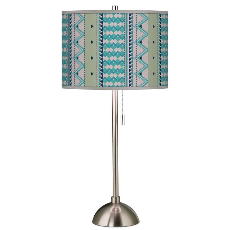 Geo Metrix Giclee Brushed Nickel Table Lamp