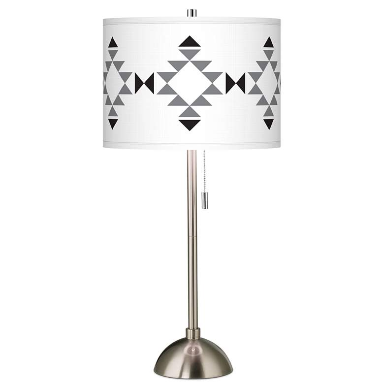 Desert Grayscale Giclee Brushed Nickel Table Lamp