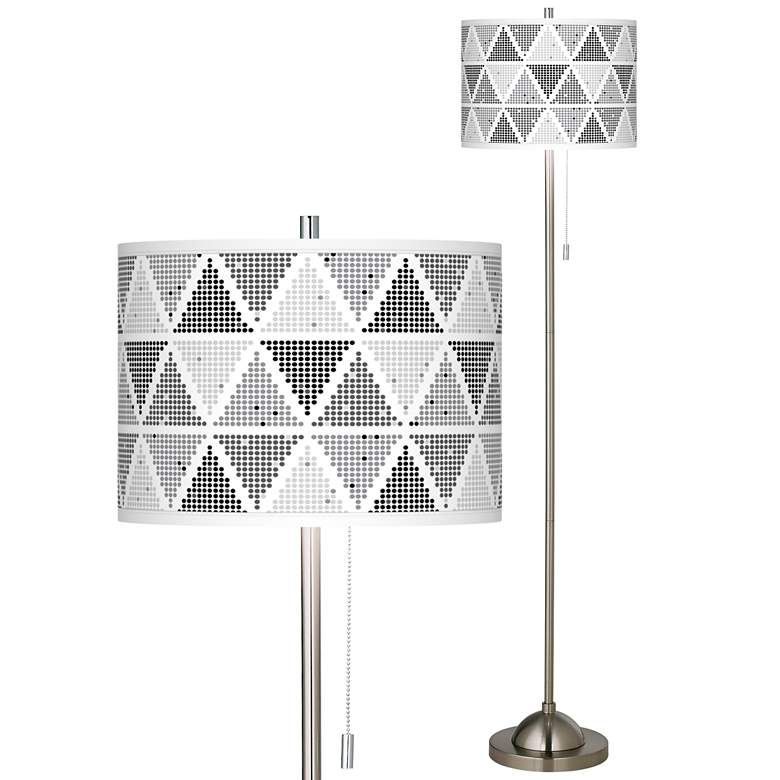 Pointillism Brushed Nickel Pull Chain Floor Lamp