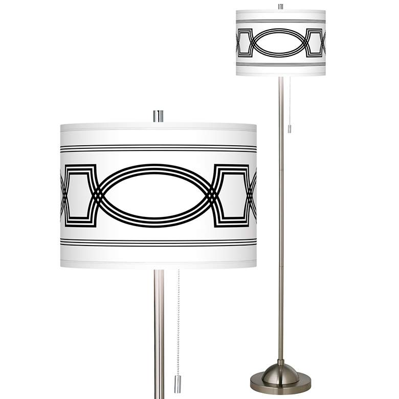 Concave Brushed Nickel Pull Chain Floor Lamp