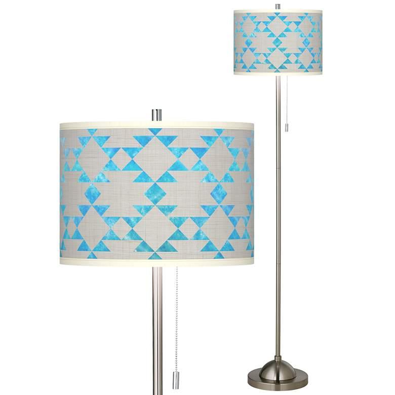 Desert Aquatic Brushed Nickel Pull Chain Floor Lamp