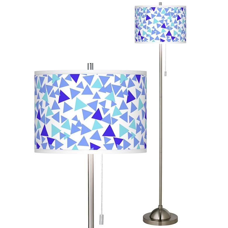 Geo Confetti Brushed Nickel Pull Chain Floor Lamp
