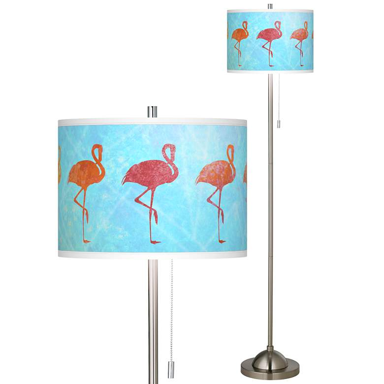 Flamingo Shade Brushed Nickel Pull Chain Floor Lamp
