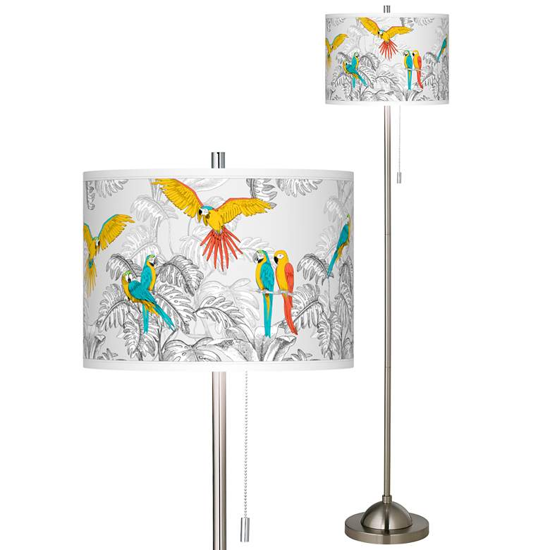 Macaw Jungle Brushed Nickel Pull Chain Floor Lamp