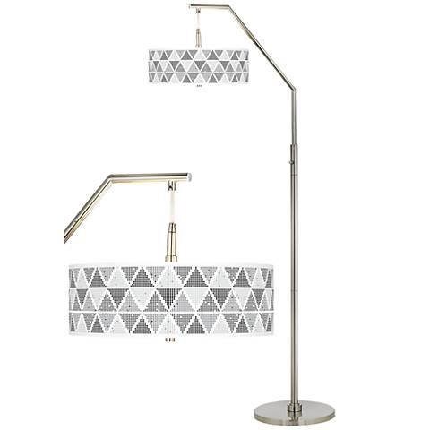 Pointillism Giclee Shade Arc Floor Lamp