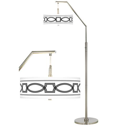 Concave Giclee Shade Arc Floor Lamp