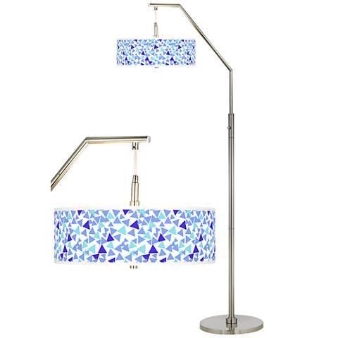 Geo Confetti Giclee Shade Arc Floor Lamp
