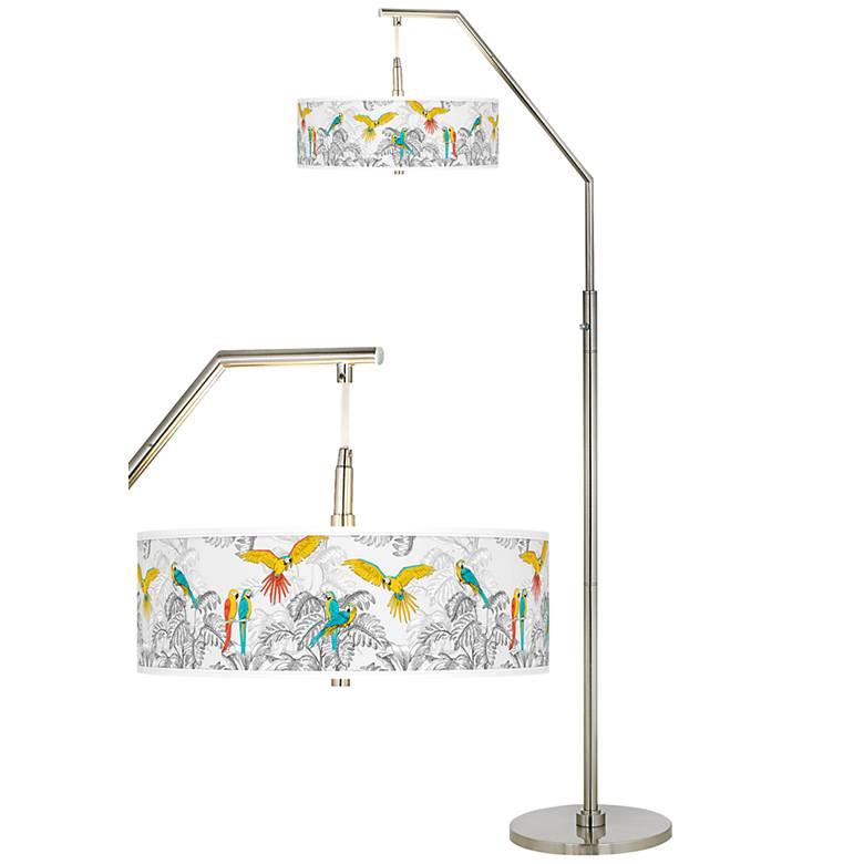 Macaw Jungle Giclee Shade Arc Floor Lamp